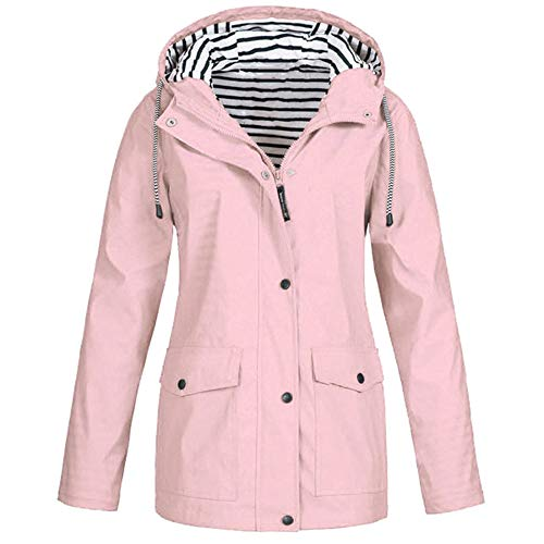 KASAAS Rain Jackets for Women Plus Size Zipper Raincoats Hoodie Solid Long Sleeve Waterproof Windproof Outdoor Coats (XX-Large, Pink) ()