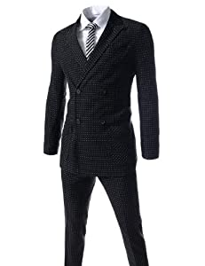 B00IHWTM02 (GAIS101) TheLees Slim Fit Dot Pattern Peaked Lapel Double Breasted 4 Button Dress Suit Set BLACK