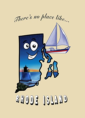 Island Rectangle Magnet (Rectangle Refrigerator Magnet - There's No Place Like Rhode Island)