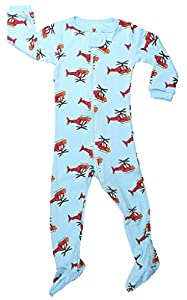 "Elowel Baby Boys footed ""Helicopter"" pajama sleeper 100% cotton (size 6M-5Years)"