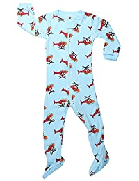 """Elowel Baby Boys footed """"Helicopter"""" pajama sleeper 100% cotton (size 6M-5Years)"""