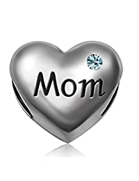 JMQJewelry Mom Heart I Love You Mother Heart Charms Beads for Bracelets