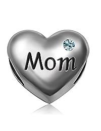 JMQJewelry Mom Heart I Love You Mother Heart Charms Beads Charms For Bracelets