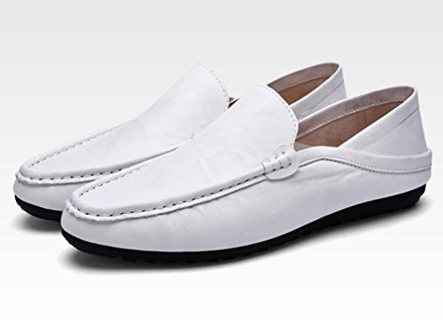 Elwow Men's Muti-Use Handmade Lining Fashion PU Leather British Style Business Shoes, Lady Flat Shopping Walking Slippers Shoes White