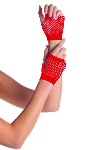 Be Wicked Women's Wrist Length Fingerless Fishnet Gloves, Red, One (Costumes With Red Fishnets)