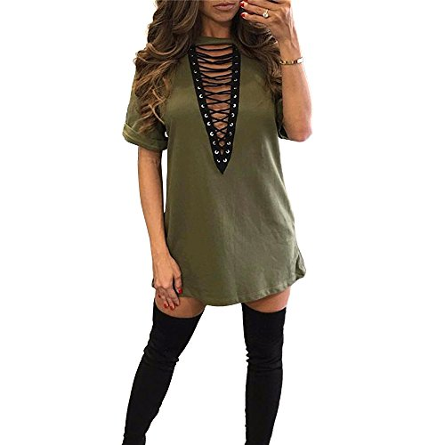 Sexy Women Club T-shirt Dress V neck Halter Lace Up Short (Sexy Halter Dress Top Shirt)