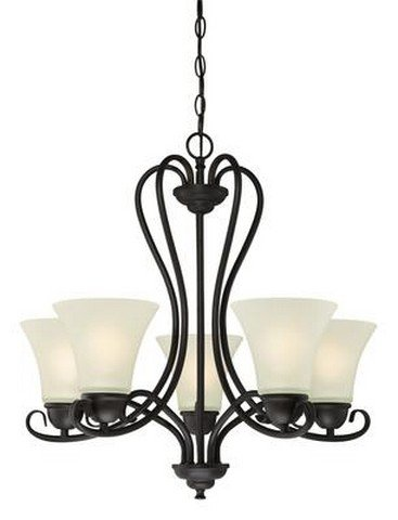 6305700 Dunmore Five-Light Indoor Chandelier, Oil Rubbed Bronze Finish with Frosted Glass