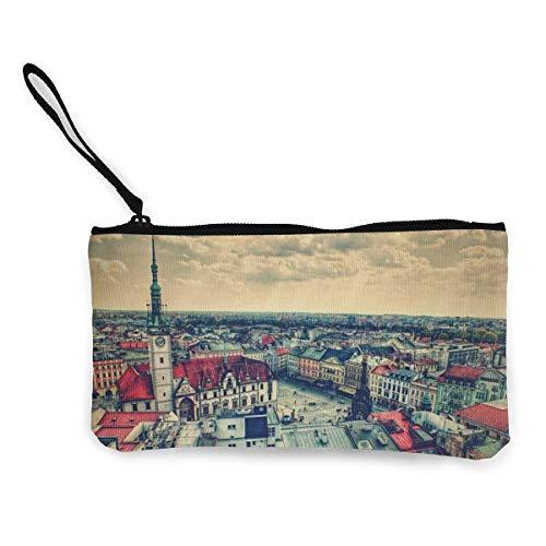 YUANSHAN Prague Square Unisex Canvas Coin Purse Change Cash Bag Zipper Small Purse Wallets with Handle -