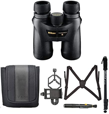 Nikon Monarch 7 10×42 Roof Prism ED ATB Waterproof Fogproof Binoculars with 67-inch Lightweight Monopod, Case, Harness, Lens Pen Smartphone Adapter Advanced Bundle 6 Items