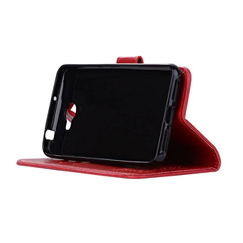 Embossing Bird Pattern PU Ledertasche mit abnehmbarem Back Cover, Flip Stand Wllet Tasche mit Lanyard & Card Slots für Huawei Y5 II (2. Generation) ( Color : Rosegold ) Red