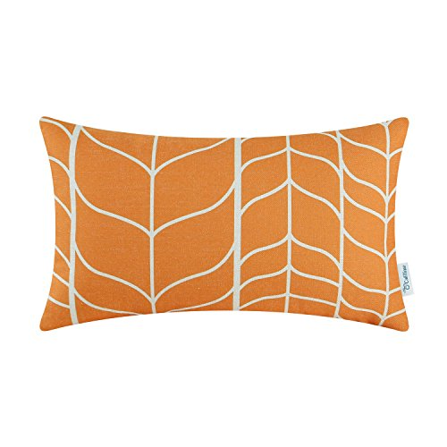 CaliTime Canvas Bolster Pillow Cover Case for Couch Sofa Home Decoration Modern Chevron Stem Panels Geometric 12 X 20 Inches Neutral Orange (Orange Pillow Bolster)