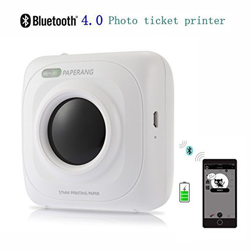 Mini Bluetooth Printer - Wireless Paper Photo Printer Portable Instant Mobile Printer for iPhone/iPad/Mac/Android Devices (white) by TCCSTAR