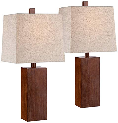 Lamp Rectangular Table Shade - Darryl Modern Accent Table Lamps Set of 2 Brown Wood Rectangular Tan Fabric Shade for Living Room Family Bedroom Office - 360 Lighting