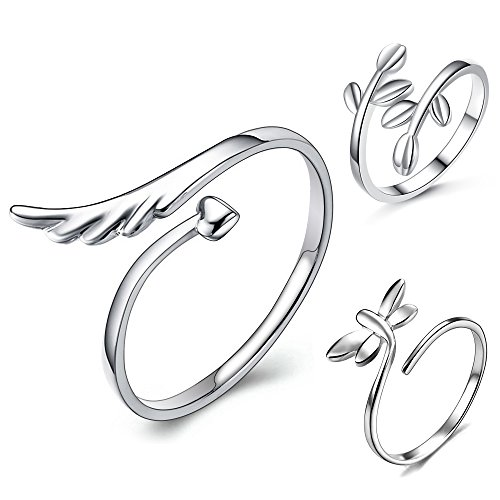 (lauhonmin 3pcs S925 Sterling Silver Open Rings Set Finger Ring Joint Ring Toe Ring Beach Jewelry Gifts for Women Girls Adjustable (Style A))