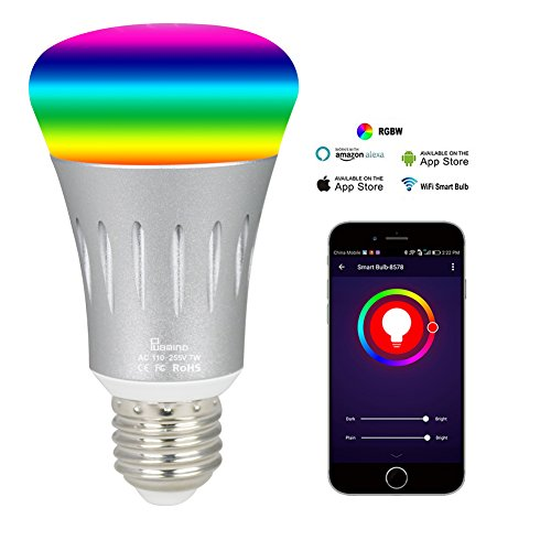 PUBMIND Smart Wifi LED Light Bulbs 7W 600Lumen 6000K Ultra Bright Color Changing Dimming Wireless Lighting No Hub Required Work with Amazon Alexa Echo Tap Dot and Google Home