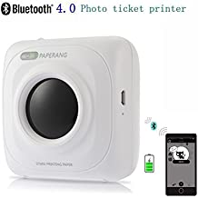Mini Bluetooth Printer - Wireless Paper Photo Printer Portable Instant Mobile Printer for iPhone/iPad/Mac/Android Devices (white)