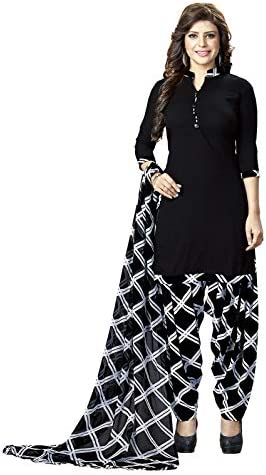 Ishin Synthetic Black Solid Printed Women's Unstitched Salwar Suits dress material with Dupatta
