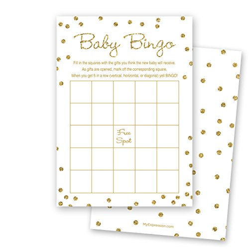 MyExpression.com 24 Cnt Gold Glitter Graphic Dots Baby Bingo Cards