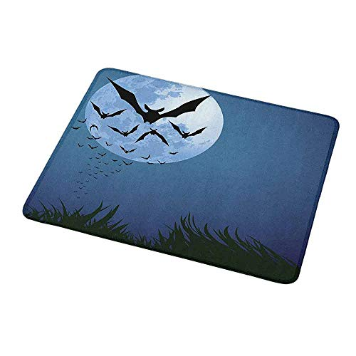 Gaming Mouse Pad Halloween,A Cloud of Bats Flying Through The Night with a Full Moon Fall Season,Night Blue Black Grey,Gaming Non-Slip Rubber Large Mousepad -