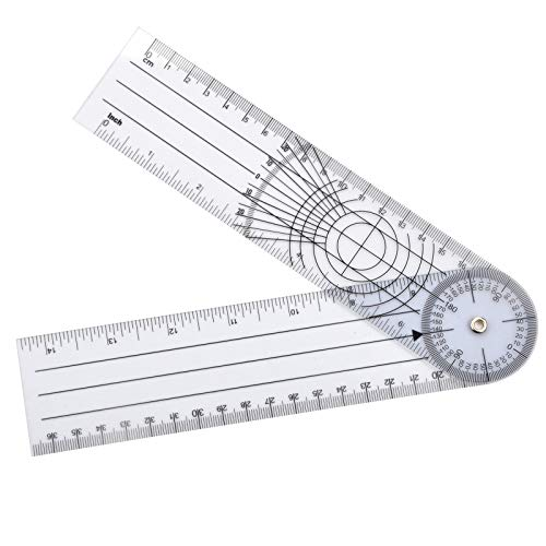 WIN TAPE Clear Plastic Goniometer Can Rotate 360