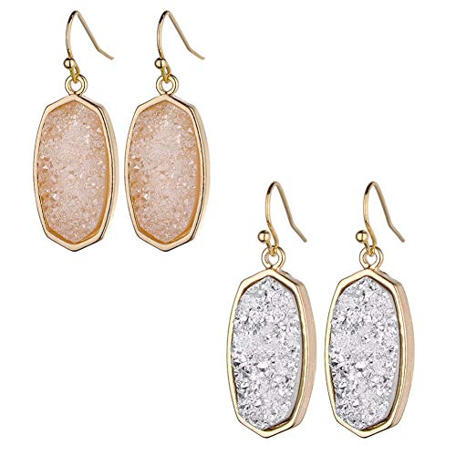 Statement Oval Simulated Druzy Crystal Stone Gold Tone Drop Dangle Earrings for Women and Girls (pink and white set)