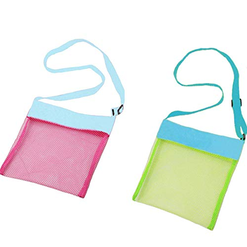 Auony Beach Mesh Bags, 2 Pack Sand Away Seashell Tote Bags with Adjustable Carrying Straps for Kid's Shell Collection