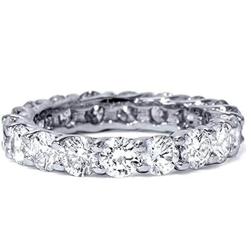 Platinum 3ct Round Diamond Eternity Wedding Ring - Size 6