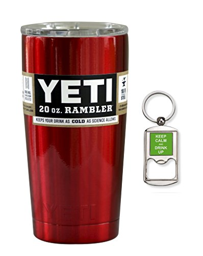 YETI Coolers Custom Powder Coated Insulated Stainless Steel 20 Ounce (20 oz) (20oz) Rambler Tumbler with Lid and Bottle Opener Keychain (Candy Red)