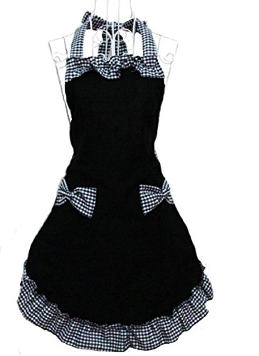 EUBUY Lovely Grid Kitchen Cooking Working Chefs Flirty Apron With Sweety Bowknots Pockets Perfect Christmas Gift For Wife Daughters Ladies(Black)