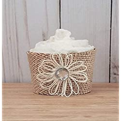 Rustic Burlap Flower Cupcake Wrapper For Country Wedding, Baby Shower, Bridal Shower Set of 12 Standard Size