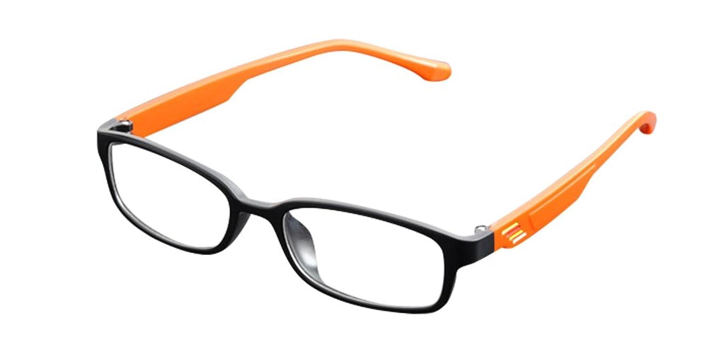 De Ding Womens Men's Clear Lens Optical Frame Matt Black Orange