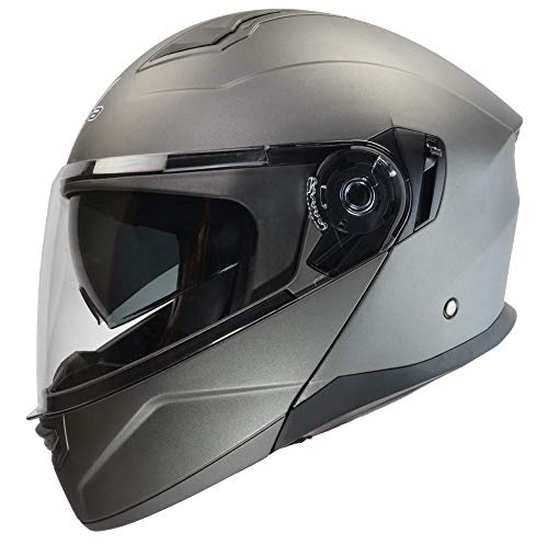 Vega Helmets Unisex-Adult Caldera Modular Motorcycle & Snowmobile Helmet 30% Larger Shield and Sunshield (Matte Titanium, Large (Best Ventilated Full Face Motorcycle Helmet)