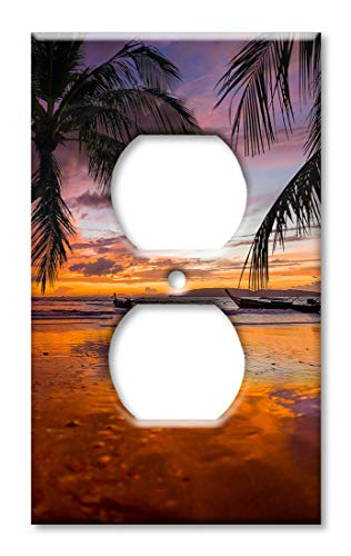 Art Plates OVER SIZED Outlet Cover/OVERSIZE Outlet Switch Plate - Orange & Purple Sunrise at the -