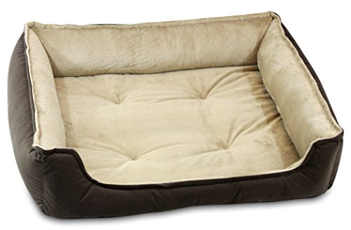 - Oliver & Iris Rectangle Cuddle Dog Bed, Small, Chocolate/Camel