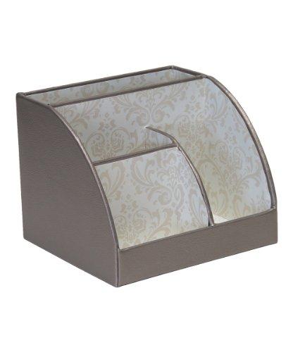 Platinum & Brown Print Desk Caddy