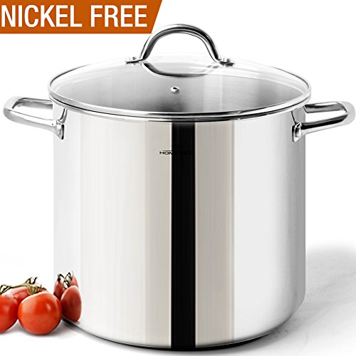 HOMI CHEF COMMERCIAL GRADE Stainless Steel Stock Pot 20 Quart with Lid - NICKEL FREE Stainless Steel Non Toxic Cookware Stockpot 20 Quart - LARGE & HEAVY DUTY Stock Pots For Cooking