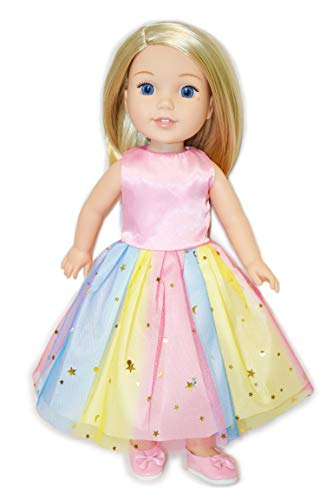 - Eledoll Rainbow Tutu Dress and Shoes Matching Set Clothes for 14 inch 14.5 inch Doll