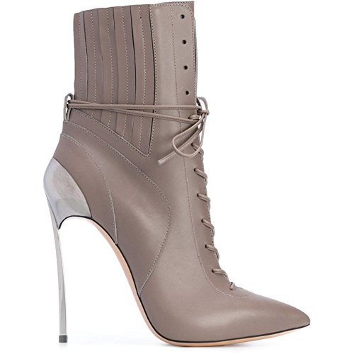 Heels Pointed Best Rubber Genuine High Leather Zipper 4U Toe Women's Stiletto Shoes up Metal Lace Heel Sole Apricot Autumn Spring 12CM Pz0Pw