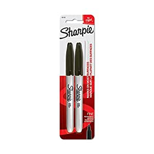 Sharpie 30162PP  Permanent Markers, Fine Point, Black, 2 Count
