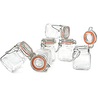 Grant Howard 50521 3.4-Ounce Square Clear Glass Spice Jar, Set of 24, Small