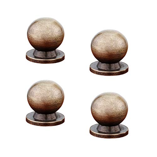 (Tiazza 4pcs Round Solid Brass Knobs Antique Cabinet Drawer Small Handle Modern Minimalist Pulls (Antique Bronze))
