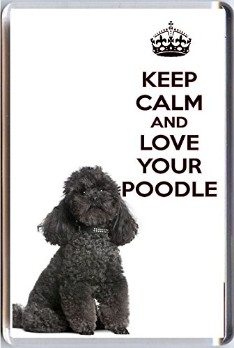 Yummy Grandmummy Keep Calm And Love Your Poodle Fridge Magnet With A Picture Of A Cute Black Toy Poodle. A Unique Birthday Or Christmas Stocking Filler Gift For A Poodle Lover.
