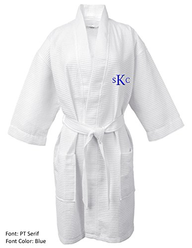 BC BARE COTTON Personalized Monogram Make Your Own Custom Thigh Lenght Waffle Kimono Robe  White  One Size