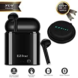 Bluetooth Headset Wireless Earbuds Bluetooth Headphones Mini Size HD Stereo in-Ear Noise Canceling Earphones with Mic and Charger Case Compatible with iPhone iOS Android Smart Phones (Black)