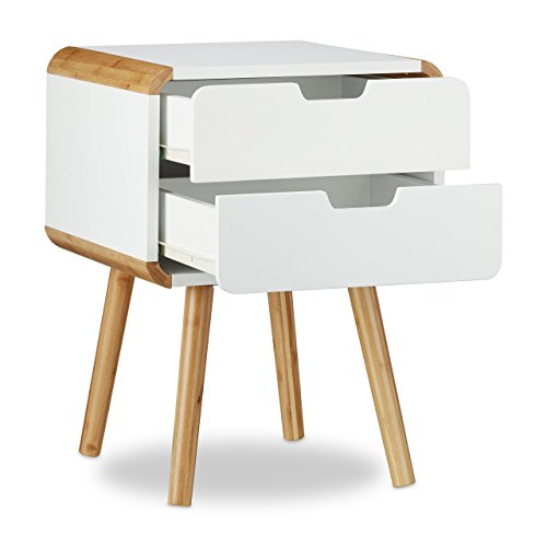 relaxdays table de chevet avec 2 tiroirs table console en blanc optique bois table de nuit