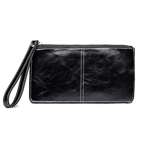 Miss Pocket Zipper Pouch phone Lulu with For Roomy Bags Holder Leather inch Card Women 5 Clutch Black Hand Wallets Purse PU Smart Bag Wristlets Fashion 5 FFfBr1