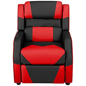 Amazon Basics 3, Black and Red Kids/Youth Gaming Recliner with Headrest and Back Pillow, 5+ Age Group