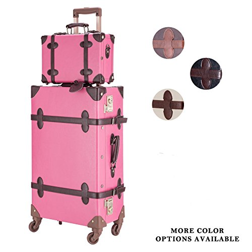 CO-Z Premium Vintage Luggage Sets 24'' Trolley Suitcase and 12'' Hand Bag Set with TSA Locks (Pink + Beige) (12'' +24'' Rose) by CO-Z