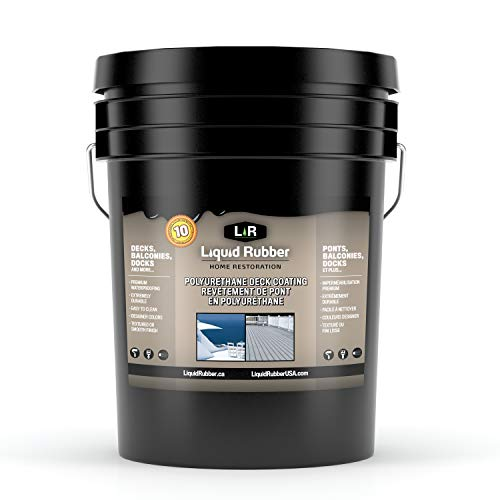 Liquid Rubber Smooth Polyurethane Deck and Dock Coating/Sealant - Easy to Apply | UV Resistant | Indoor/Outdoor Use | Misty Grey | 5 - Liquid Deck