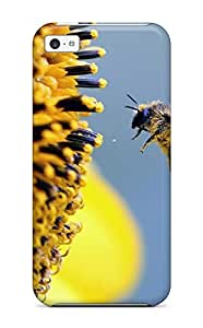 New Style Clarencepca Sun Flower And Honeybee Flowers Honey Bees Summer Yellow Blue Animal Other Premium Tpu Cover Case For Iphone 5c
